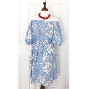 Bleuh Ciel Off Shoulder Floral Blue Striped Dress